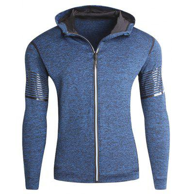 Stretch Zip Up Streifen Fleece Running Hoodie
