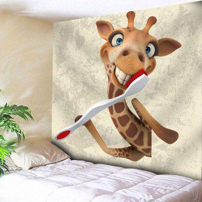 Giraffe Toothbrush Wall Hanging Animal Tapestry