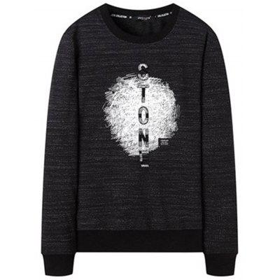 Letter Patch Offset Printing Crewneck Sweatshirt
