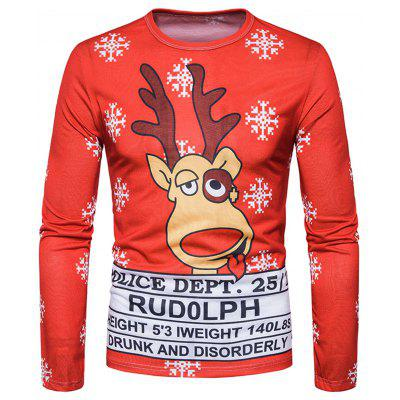 Crew Neck 3D Reindeer Graphic Print Christmas T-shirt футболка asics футболка ss crew