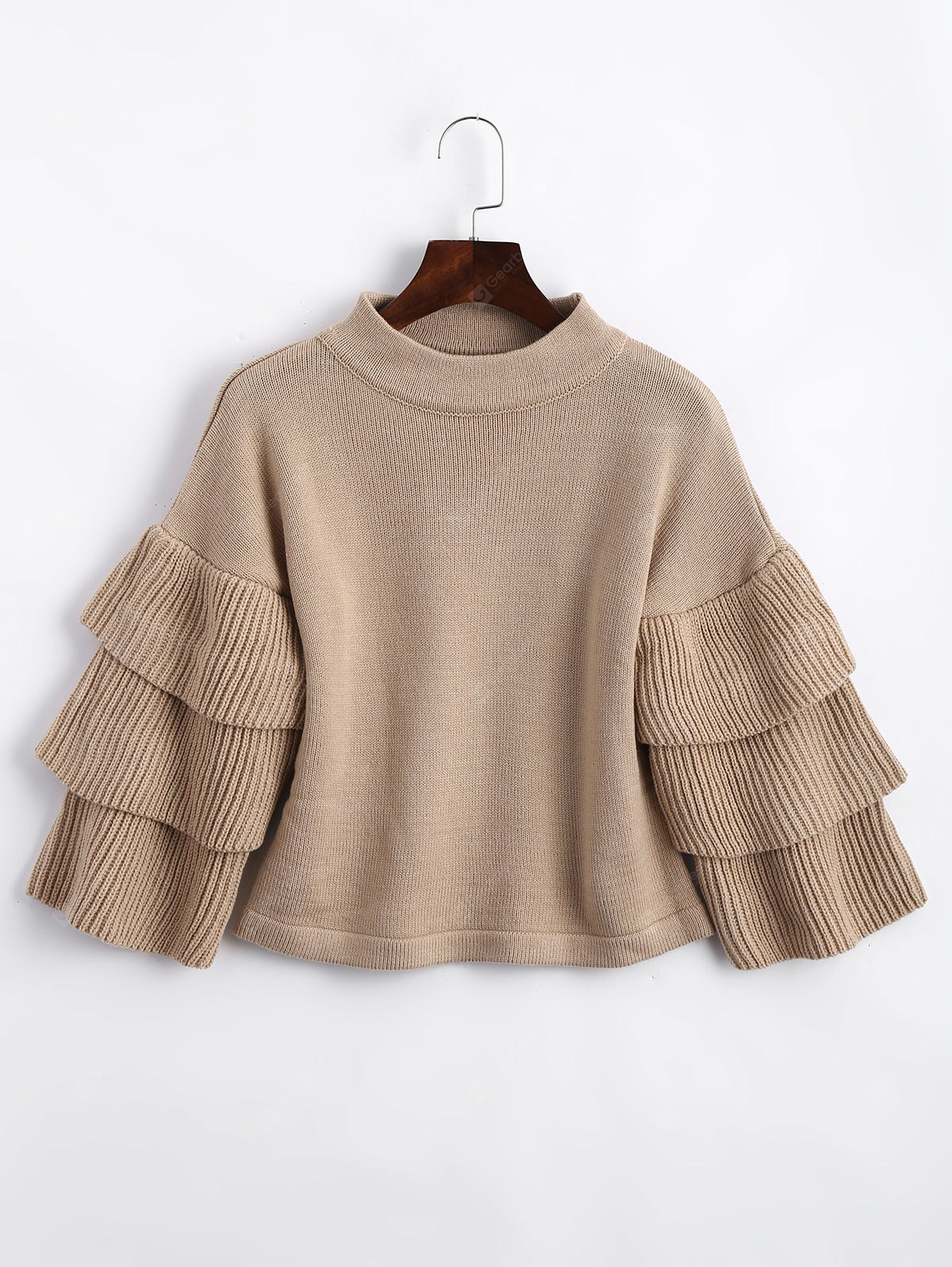 Mock Neck Layered Sleeve Loose Sweater