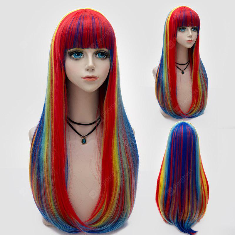 Long Full Bang Rainbow Tail Adduction Straight Synthetic Party Wig