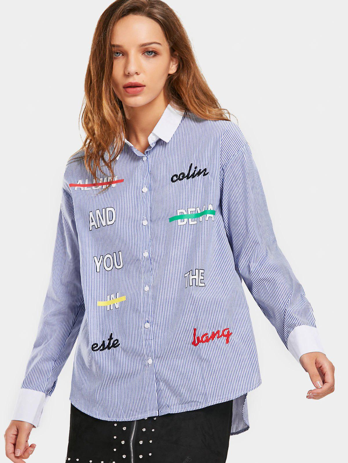 Stripes Letter Embroidered Loose Shirt