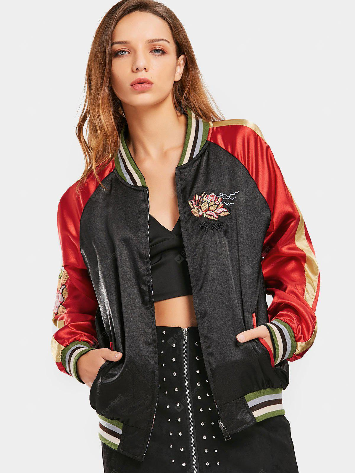 Embroidered Double Side Zip Up Baseball Jacket