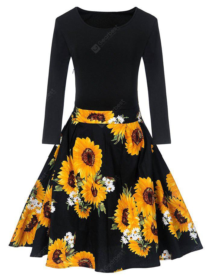 BLACK S Vintage Sunflower Print Fit and Flare Dress