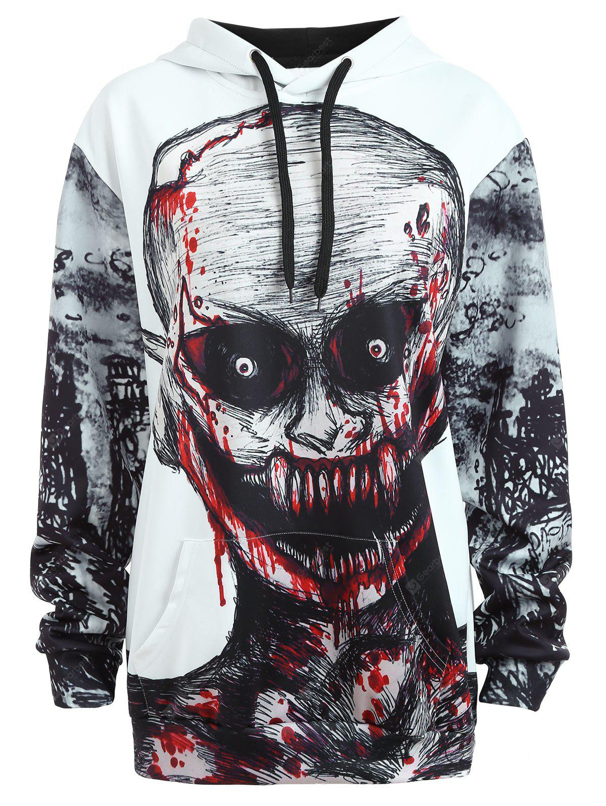 Plus Size Halloween Skull Drawstring Hoodie with Pocket