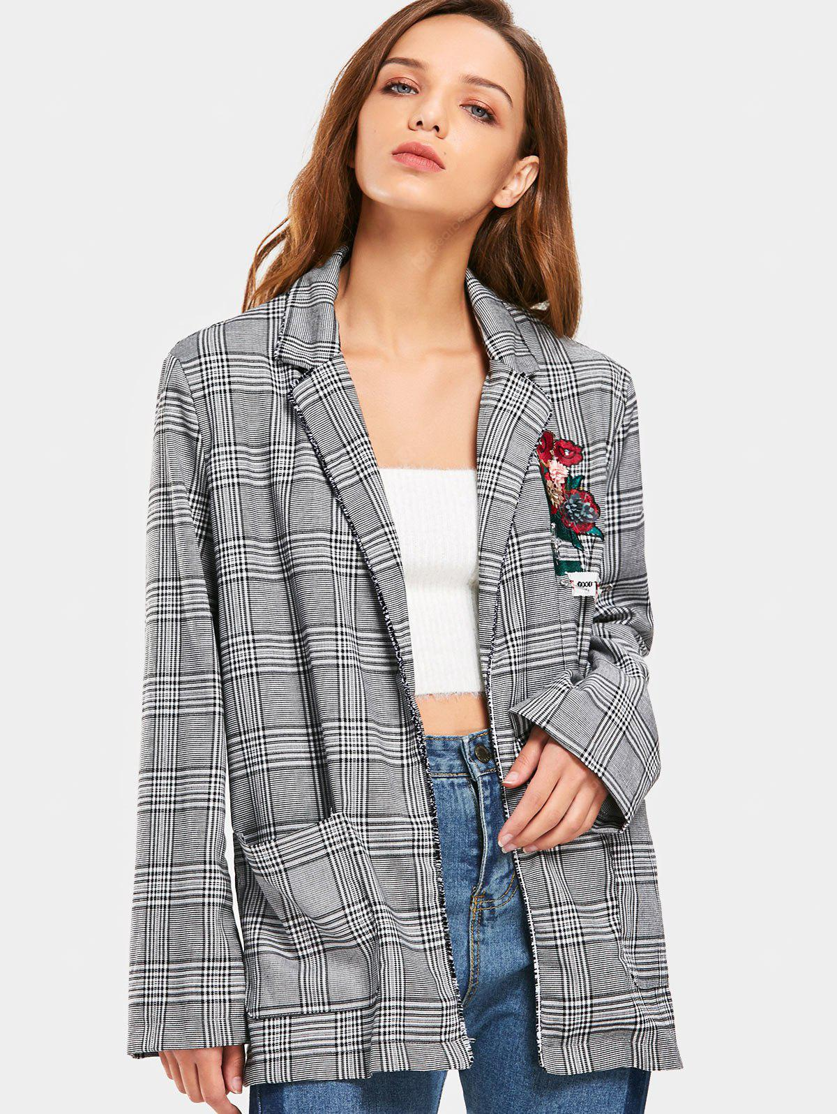 Floral Applique Embroidered Checked Blazer