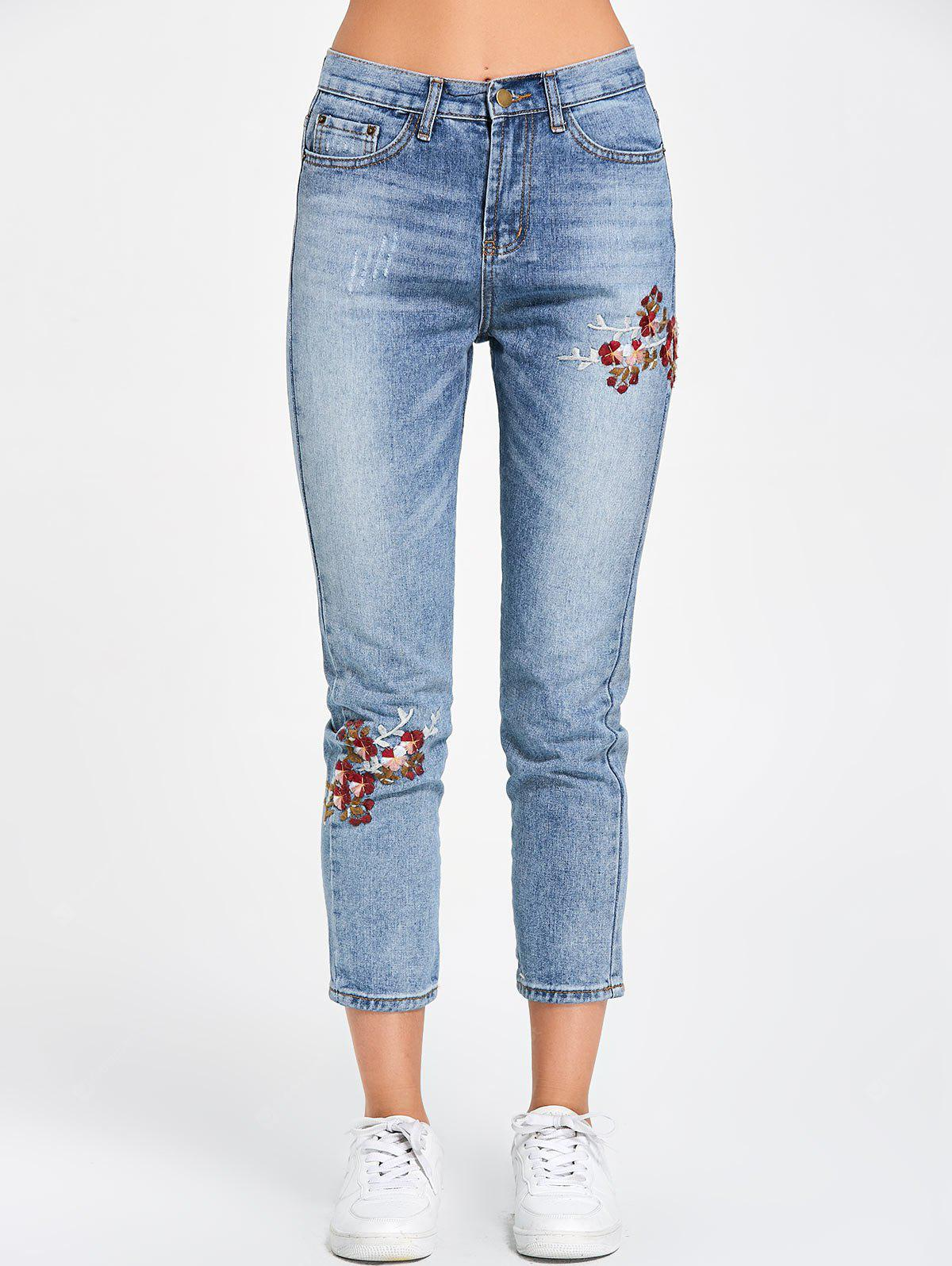 BLUE L Zipper Fly Floral Embroidered Jeans