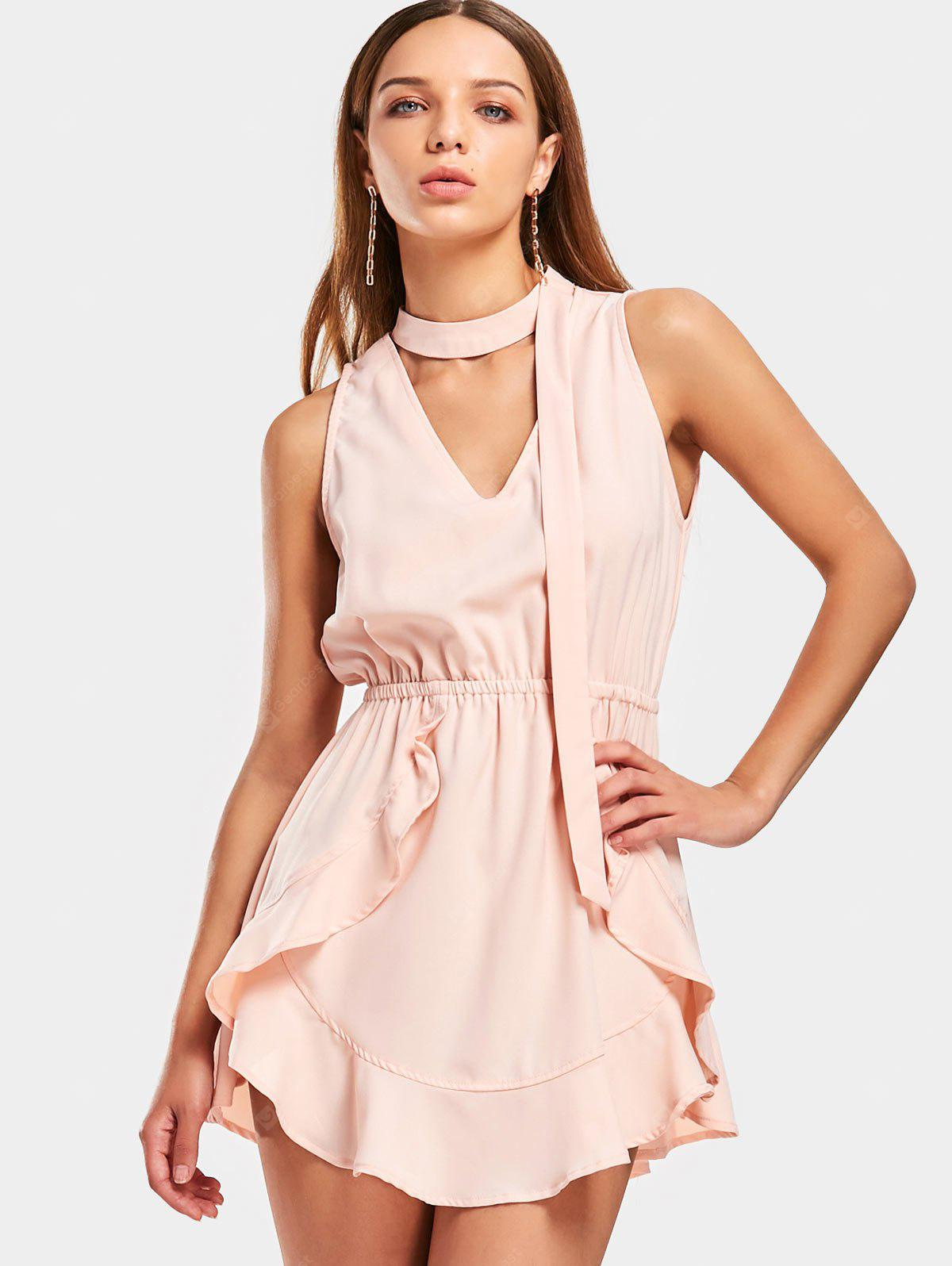 Choker Ruffles Cut Out Mini Dress