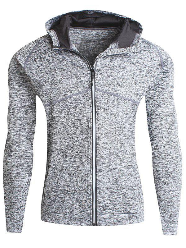 Stretch-Zip-Up Heathered-Fleece Pullover mit Kapuze