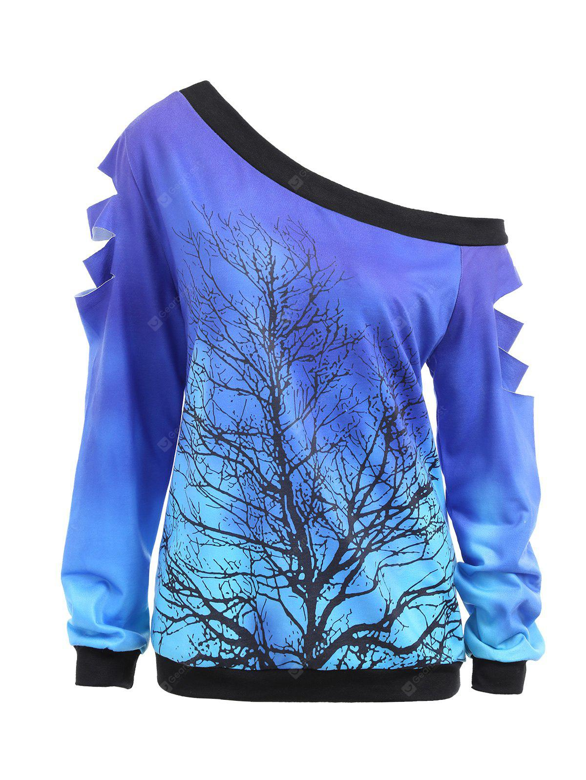 Ripped Sleeve Skew Neck Life Tree Sweatshirt