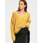 Oversize V Neck Chunky Sweater - YELLOW