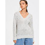 V Neck Colormix Pullover Sweater - GREY WHITE