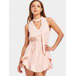 Choker Ruffles Cut Out Mini Dress - PINKBEIGE