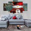 Christmas Snowman In Hat Print Canvas Unframed Split Paintings - COLORMIX