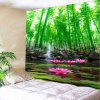 Lotus Pond Bamboo Grove Wall Art Tapestry - GREEN
