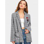 Floral Applique Embroidered Checked Blazer - CHECKED