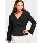 Double-breasted Skirted Fitting Blazer - BLACK