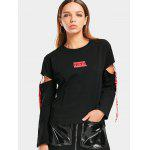 Letter Cutout Ribbons Loose Top - BLACK