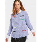 Stripes Letter Embroidered Loose Shirt - STRIPE