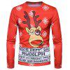 Crew Neck 3D Reindeer Graphic Print Christmas T-shirt - COLORMIX