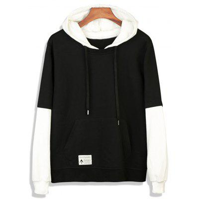 Buy BLACK Color Block Faux Twinset Appliques Pullover Hoodie for $32.67 in GearBest store