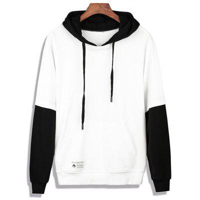 Buy WHITE Color Block Faux Twinset Appliques Pullover Hoodie for $32.67 in GearBest store