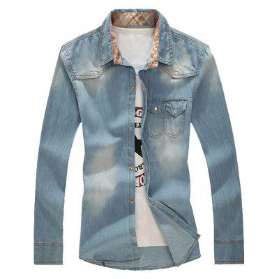Buy LIGHT BLUE Snap Button Double Chest Pocket Denim Shirt for $32.33 in GearBest store