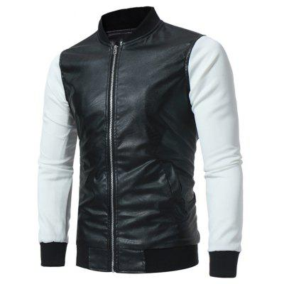Buy BLACK Stand Collar Panel Design PU Leather Zip Up Jacket for $39.41 in GearBest store