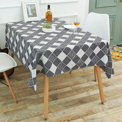 Checked Pattern Linen Table Cloth