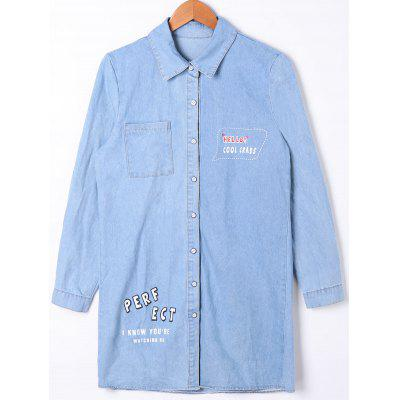Buy LIGHT BLUE M Patch Pocket Button Up Denim Shirt Coat for $27.21 in GearBest store