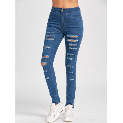 Buy BLUE XL Skinny Ladder Distressed Jeans for $22.04 in GearBest store