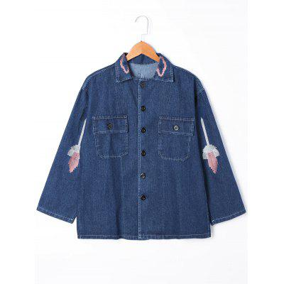 Buy DENIM BLUE M Embroidery Flap Pockets Denim Jacket for $30.91 in GearBest store