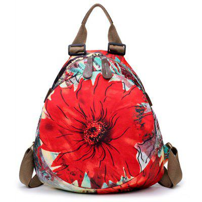 Nylon Flower Print Backpack