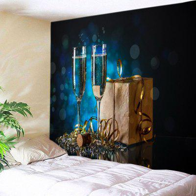 Buy DEEP BLUE Wall Hanging Art Christmas Goblet Print Tapestry for $13.85 in GearBest store