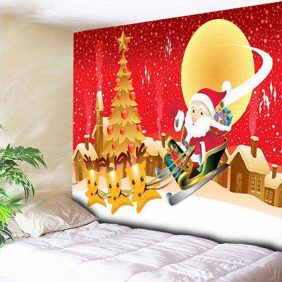 Santa Sleigh Christmas Tree Town Wall Tapestry