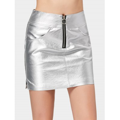Half Zip Shiny Faux Leather Mini Skirt