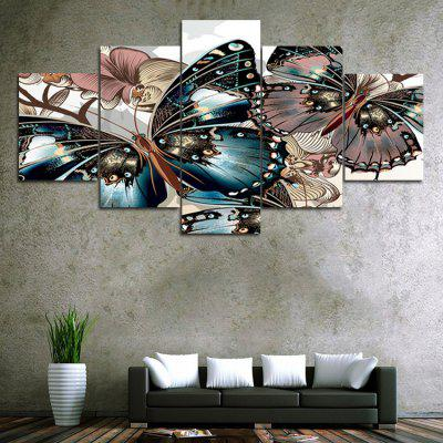 Vintage Butterfly Print Unframed Canvas Split Paintings