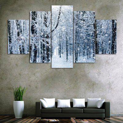 Snow Forest Print Unframed Canvas Split Paintings