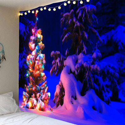 Snow Night Light Decorative Christmas Tree Wall Tapestry