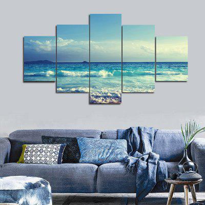 Sea Wave Pattern Unframed Canvas Split Paintings