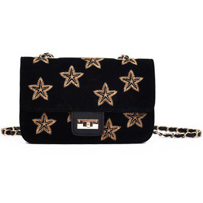 Buy BLACK Embroidery Star Chain Crossbody Bag for $20.86 in GearBest store