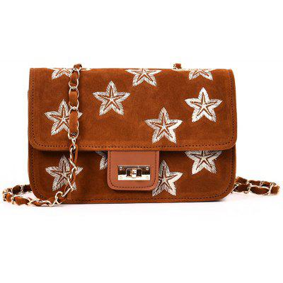 Buy BROWN Embroidery Star Chain Crossbody Bag for $20.86 in GearBest store
