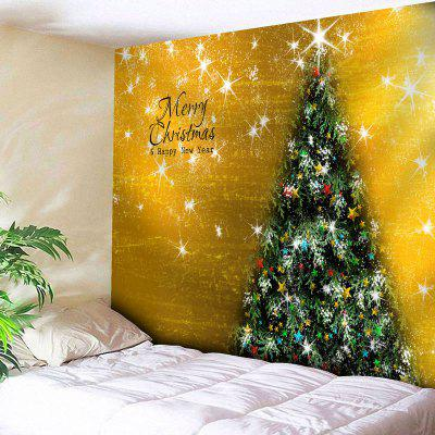 Buy GOLDEN Merry Christmas Tree Print Wall Tapestry for $12.79 in GearBest store