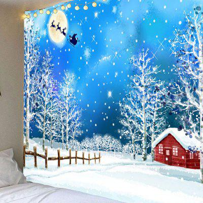Snows and Trees Pattern Waterproof Christmas Wall Hanging Tapestry