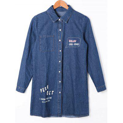 Buy CERULEAN L Patch Pocket Button Up Denim Shirt Coat for $27.21 in GearBest store