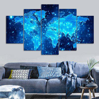Galaxy World Map Print Unframed Canvas Split Paintings