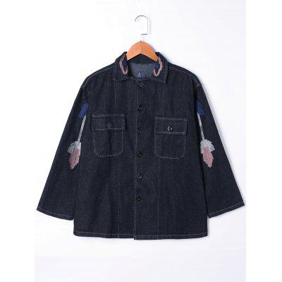 Buy BLACK L Embroidery Flap Pockets Denim Jacket for $30.91 in GearBest store