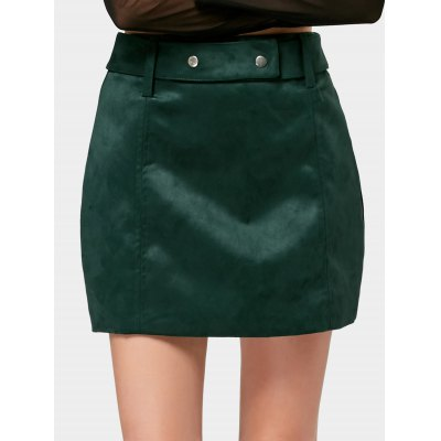 Faux Suede Belted A Line Mini Skirt