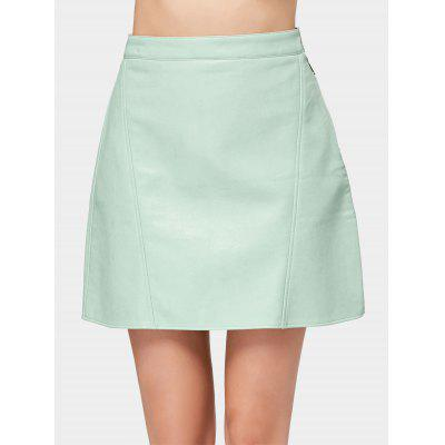 Faux Leather Side Zip Mini Skirt